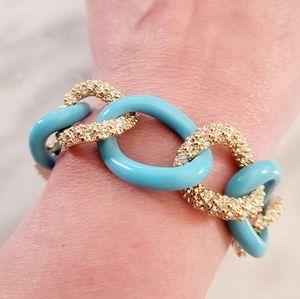 Vintage JB Tiffany Blue Enamel Gold Link Bracelet